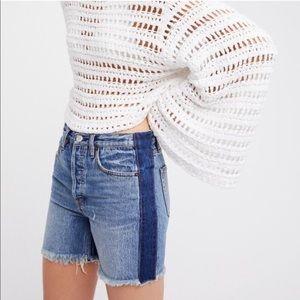 Free People Striped Raw Hem Denim Jean Shorts